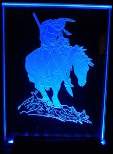 Light up acrylic glass with American Indian