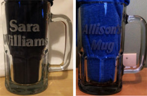 Names etched on mugs