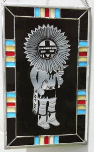 Etched tribal person with stained glass