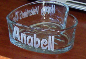 personalize etched heart glass