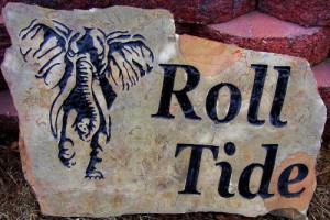 Elephant engraved in a rock for Alabama Crimson Tide.