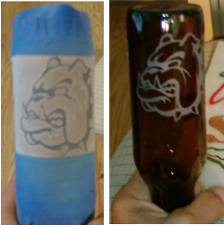 Sandblasted glass beer bottle for testing.