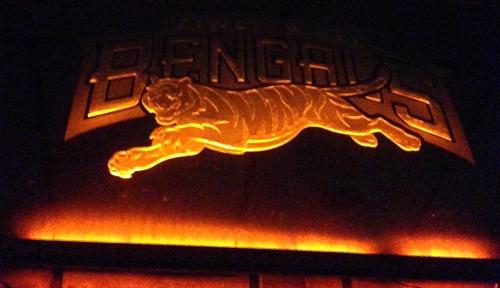 LED etching of Cincinnati Bengals etching.