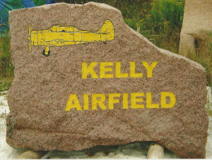 A stone sandblasted for an airport.