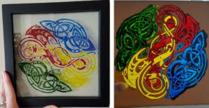 Glass painting on picture frame by Jade Elizabeth.