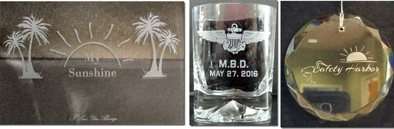 Tumbler and ornament etched.