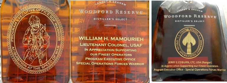 Woodford reserve bottle etching
