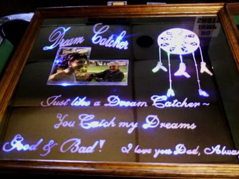 Mirror Backing Engraved Led Signs Personalized Frames